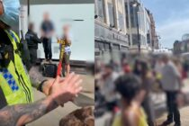 On the left: A preacher stands on a platform next to a cross as he is arrested by police. On the right: Crowds of people, pixellated, cheering