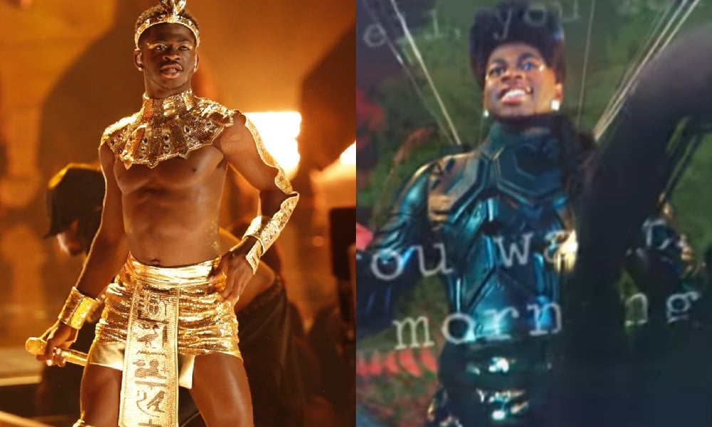 Lil Nas X topless in a gold skirt and Egyptian-style headpiece / Lil Nas X as an action hero