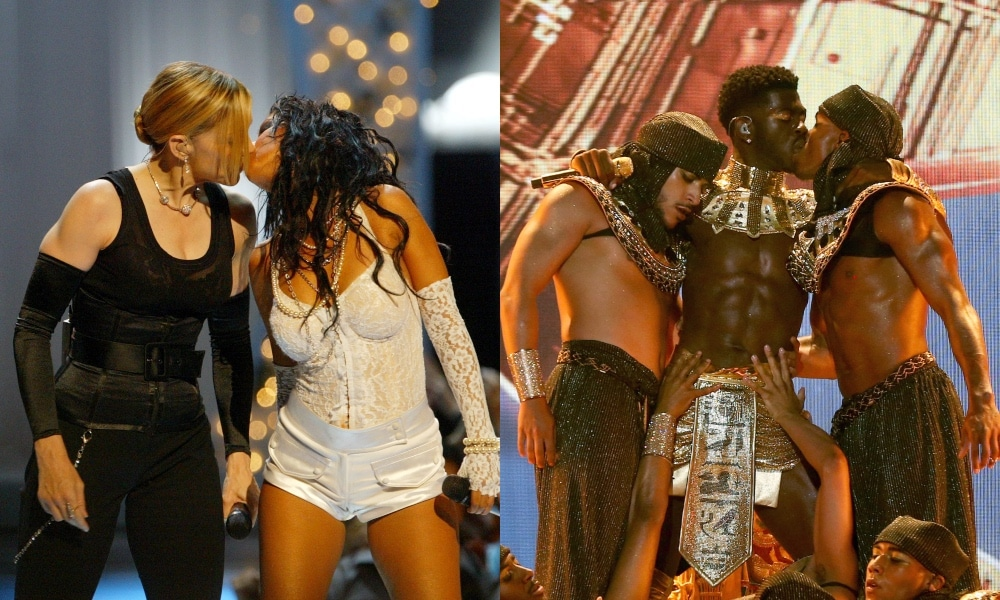 On the left: Madonna and Christina Aguilera share a kiss. On the right: Lil Nas X kisses a backup dancer.