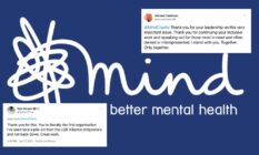 The logo of charity Mind with two tweets super imposed onto it
