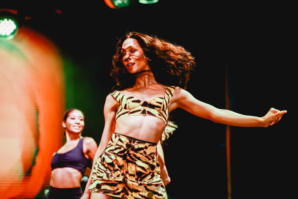 Mj Rodriguez performing on stage, dancing