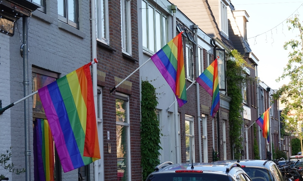 A row of homes adorned with the LGBT+ Pride flag