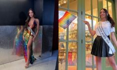 Side-by-side shots of Kataluna Enriquez wearing a rainbow dress and waving a Pride flag