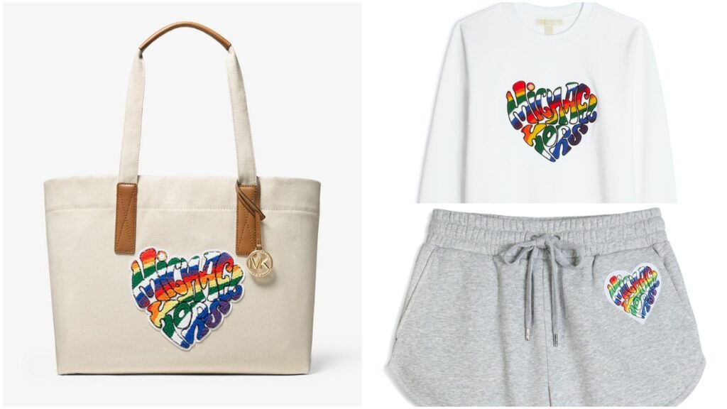 The Pride collection features one of the brand's iconic bags as well as apparel pieces. (Michael Kors)