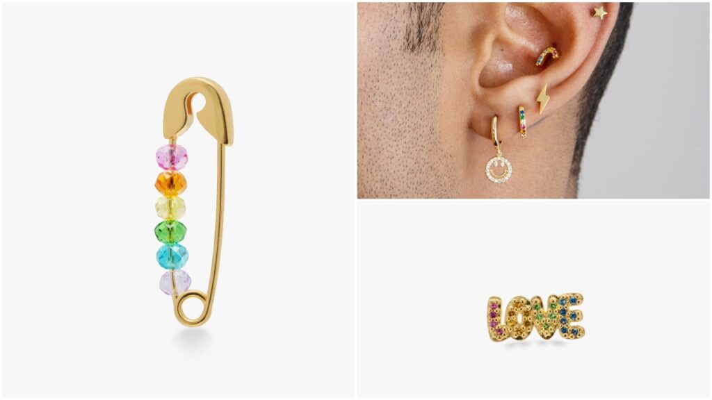 The Pride earring collection from Studs features a rainbow safety pin and 'Love' logo. (Studs)