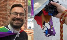 Gay Sacramento reverend Matthew Woodward and the burned LGBT+ Pride flag