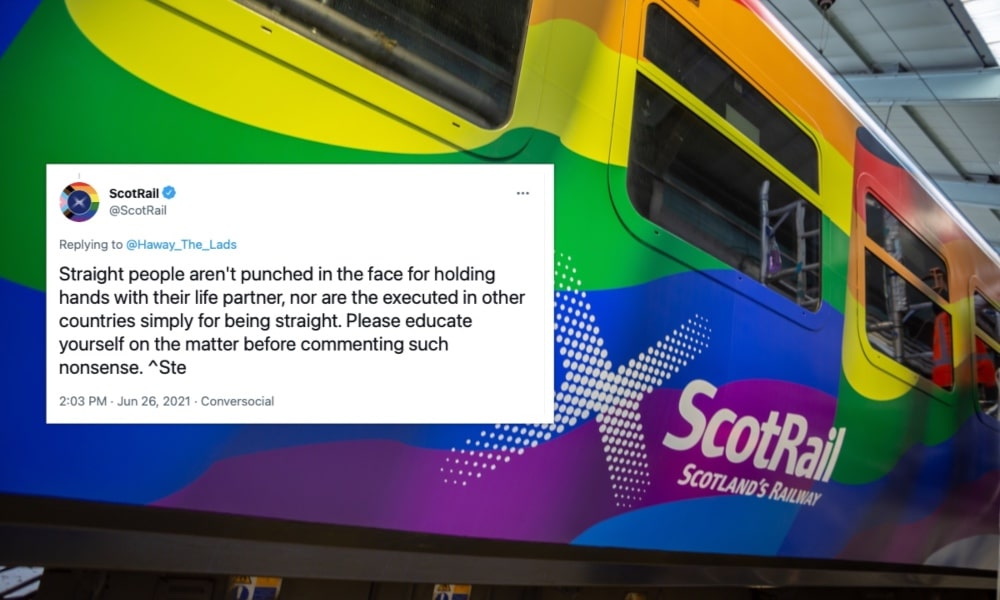 A photograph of a rainbow-coloured ScotRail train with a tweet imposed on it which reads: 'Straight people aren't punched in the face for holding hands with their life partner, nor are the executed in other countries simply for being straight. Please educate yourself on the matter before commenting such nonsense. ^Ste'