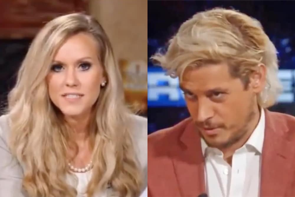 On the left: Lauren Witzke addresses the camera in a blazer and set of pearls. On the right: Milo Yiannopoulos looks down in a blazer and shirt