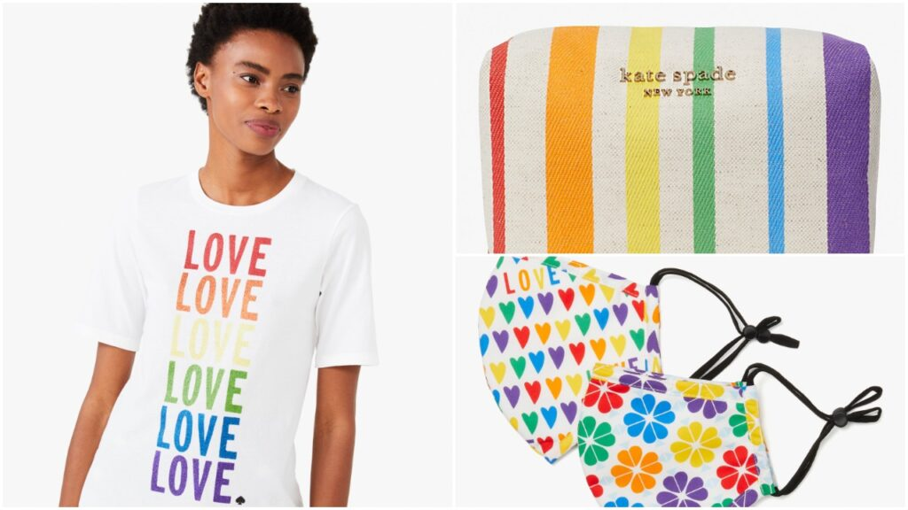 The collection features a rainbow love tee, cosmetic case and mask set. (Kate Spade New York)