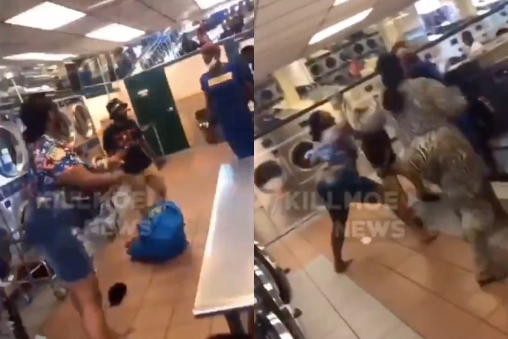 A trans woman in a blue dress is beaten by two women and a man in a laundromat