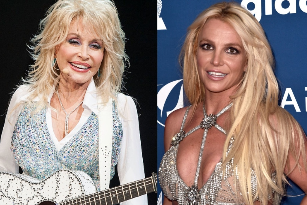 Dolly Parton performing with a guitar on-stage and Britney Spears posing at the GLAAD Awards