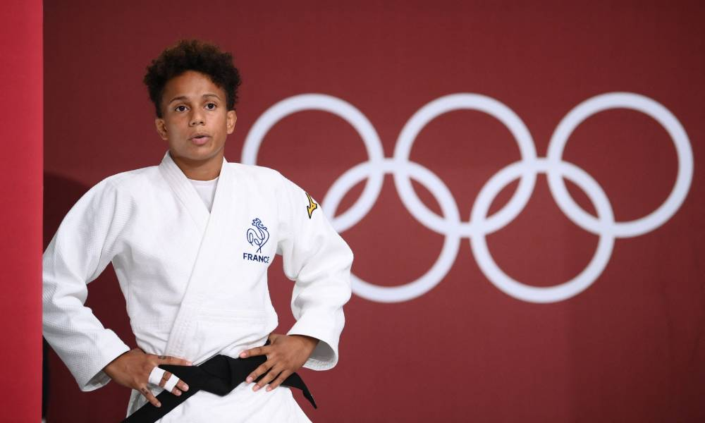 France's Amandine Buchard gets ready for the judo women's -52kg final bout during the Tokyo 2020 Olympic Games