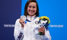 Erica Sullivan poses with silver medal at Tokyo 2020 Olympics