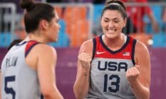 Stefanie Dolson of Team USA celebrates victory at the Tokyo 2020 Olympic Games