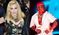 Side by side image of Madonna and DaBaby