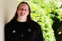 Trans weightlifter Laurel Hubbard poses for a photo in 2017