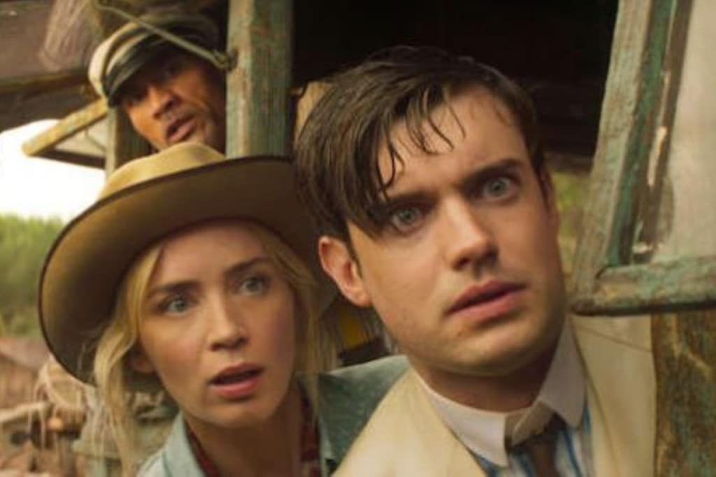 """Jack Whitehall, Emily Blunt and Dwayne """"The Rock"""" Johnson in Disney's Jungle Cruise."""