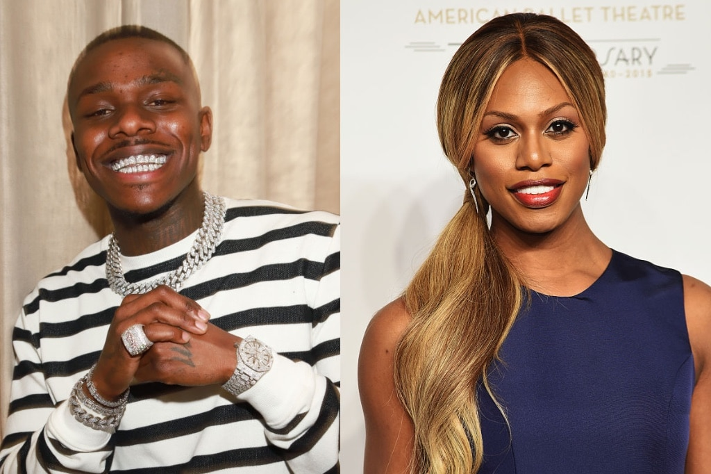 DaBaby and Laverne Cox posing for photographs