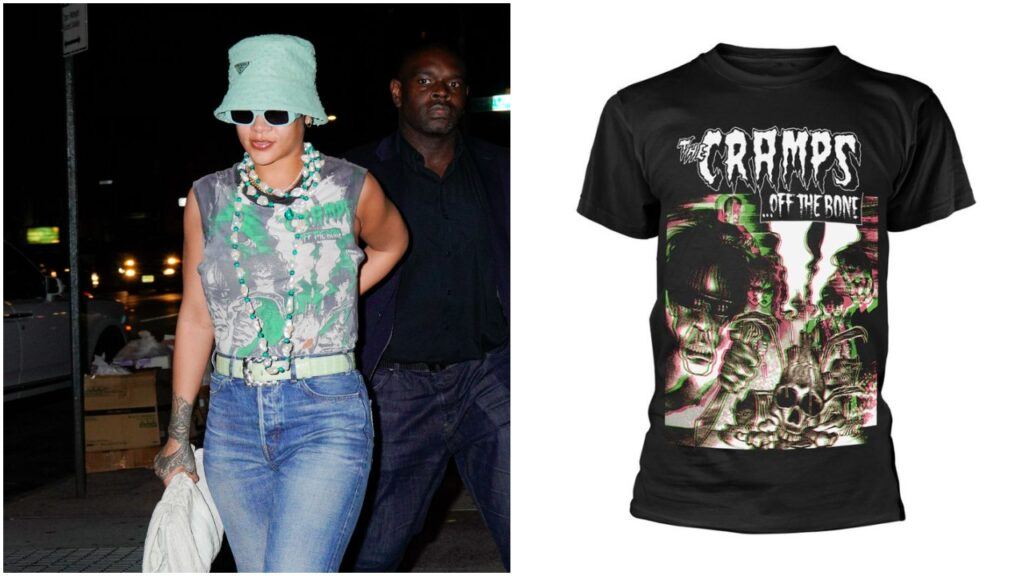 Rihanna was photographed with A$AP Rocky in New York City this week wearing a vintage band tee. (Gotham/GC Images & Amazon)