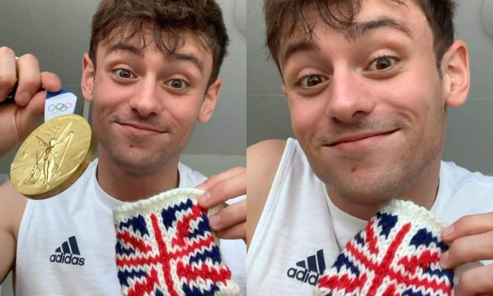 Tom Daley talks crocheting and knitting on Instagram and shows pouch for his Olympic gold medal