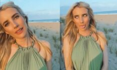 Emma Roberts poses on a beach for a video posted to her Instagram