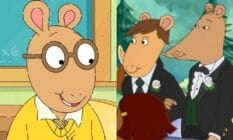 Side by side image of Arthur from PBS show Arthur and Mr Ratburn and Patrick