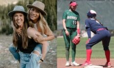 Side-by-side photos of Team USA softball player Amanda Chidester and fiance Anissa Urtez Team Mexico player at the 2020 Tokyo Olympics