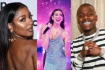 Victoria Monét posing on the red carpet, Dua Lipa performing on stage, and DaBaby posing for a photograph