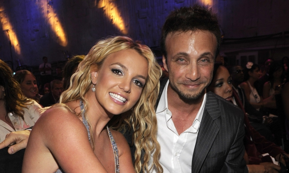 Britney Spears and Larry Rudolph in the audience at the 2008 MTV Video Music Award