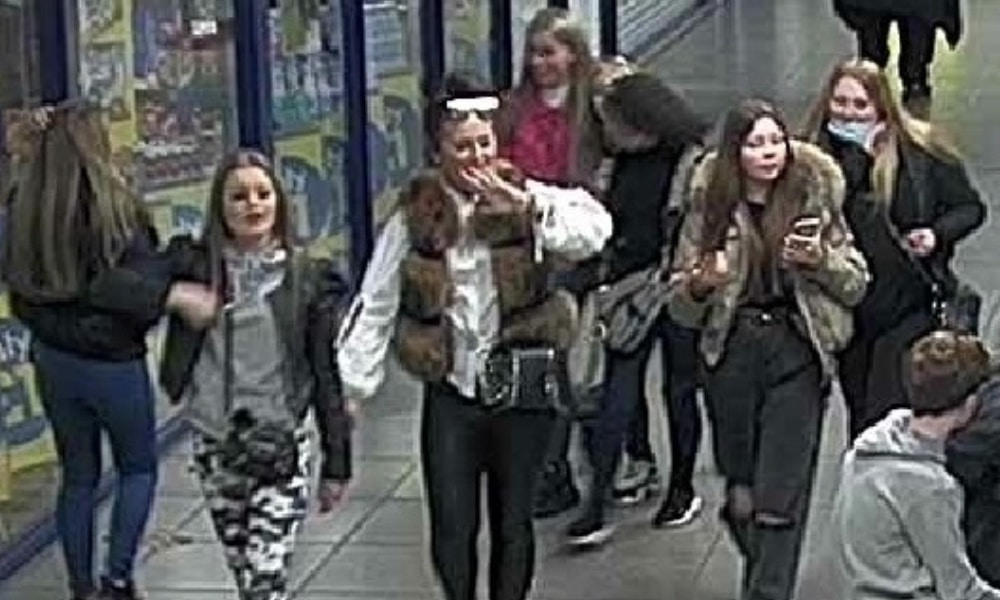 CCTV footage of the suspects, showing a group of young women