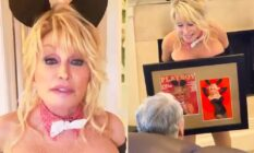 On the left: Dolly Parton wearing a white bow tie and rabbit ears. On the right: Dolly presenting her husband, sat in a couch, with a framed version of the cover