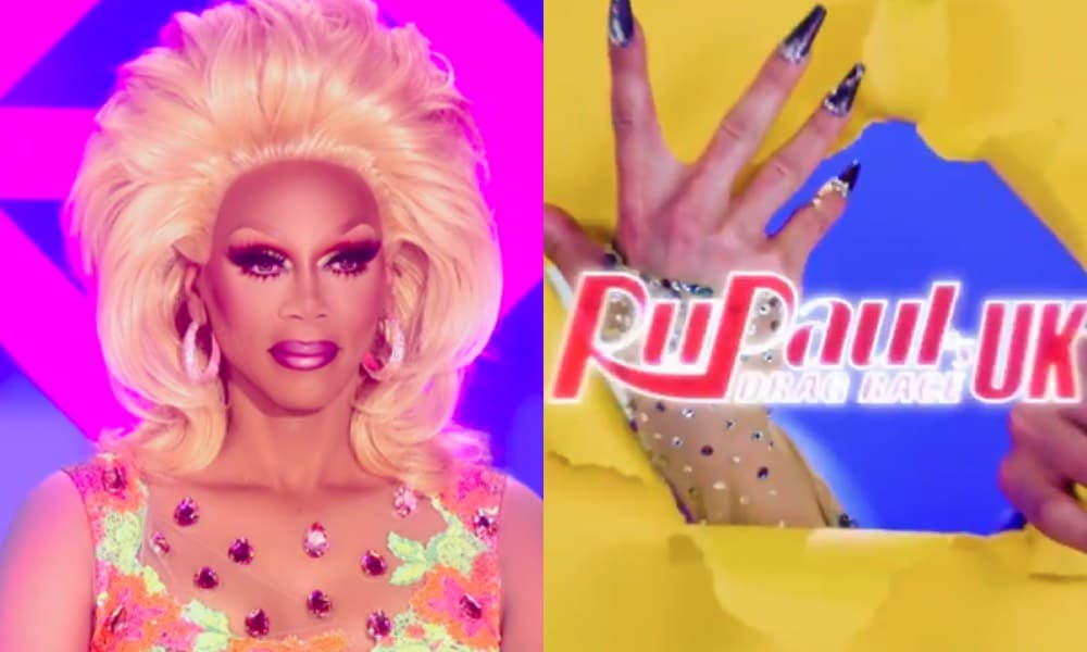 RuPaul and Drag Race UK logo with a queen's nails tursting through