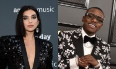 On the left: Headshot of Dua Lipa in a sequinned black blazer. On the right: Headshot of DaBaby in a floral blazer
