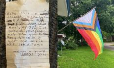 On the left: A photograph of a letter. On the right: A Progress Pride flag hanging from a house front.
