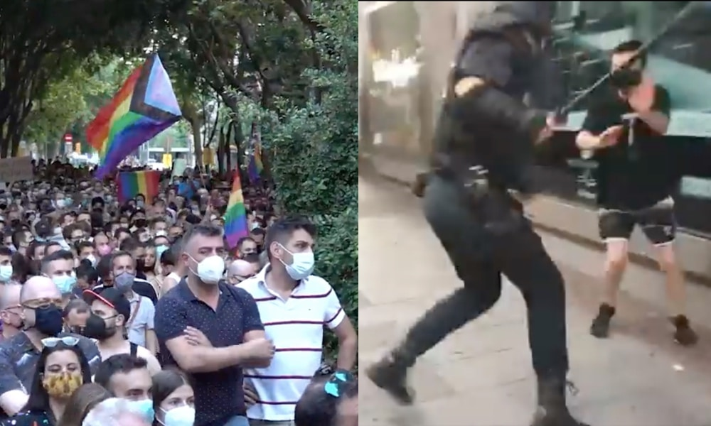 On the left: Thousands packs a street waving LGBT+ Progress flags. On the right: A riot officer hits a protester with a baton