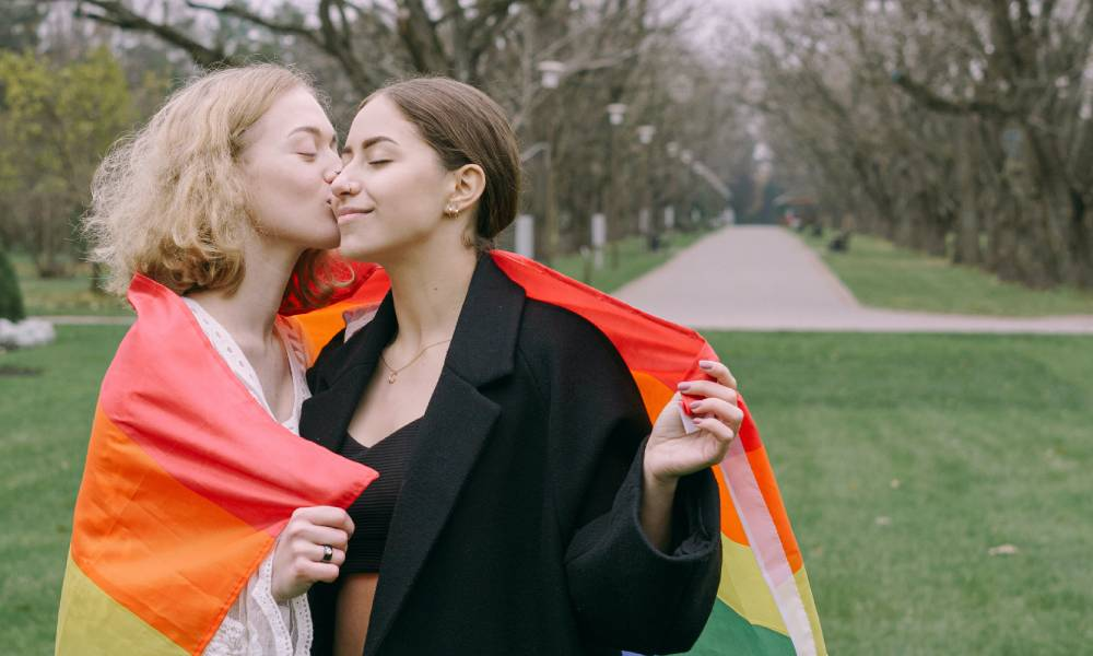 Same sex couples LGBT flag marriage