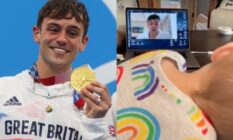 Tom Daley holding his Olympic gold medal / his son watching a video on a laptop of him