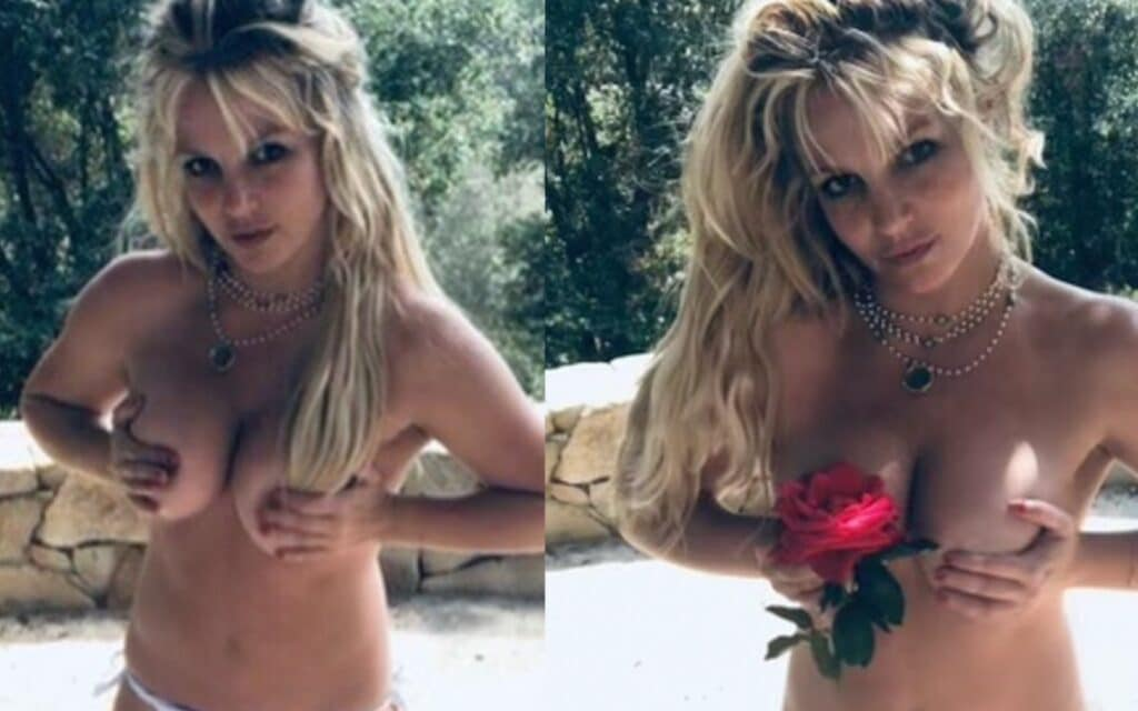 Britney Spears posing topless holding a rose