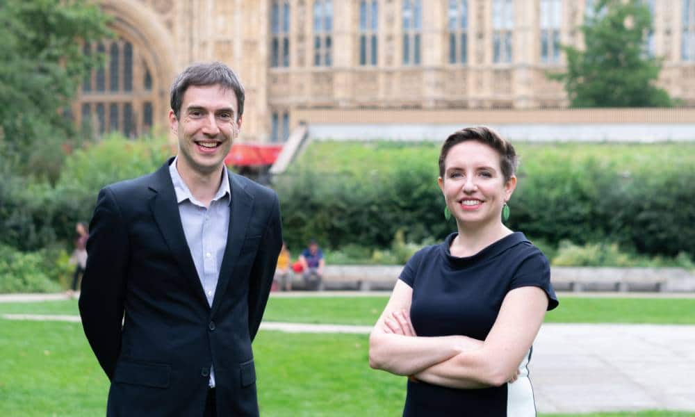 Green party leadership candidates Carla Denyer and Adrian Ramsay stand side by side and call for politicians to champion LGBT+ rights and tackle transphobia