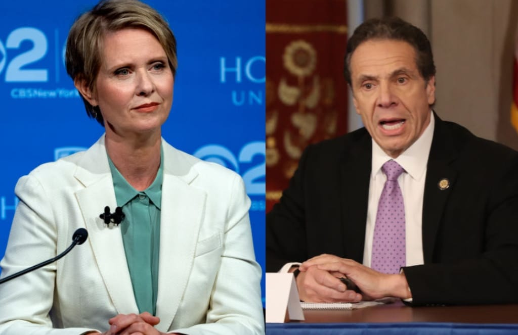 Cynthia Nixon wearing a white blazer at a 2018 gubernatorial election debate and Andrew Cuomo wearing a suit delivering a coronavirus briefing