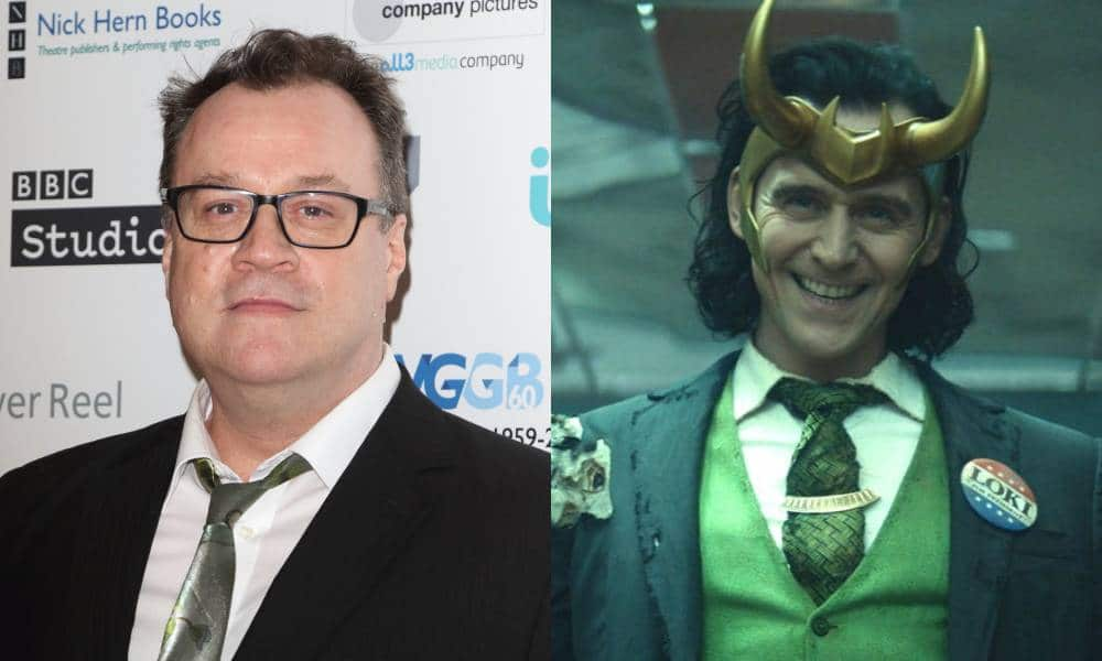 Side by side of Russell T Davies and Loki from Disney Plus series