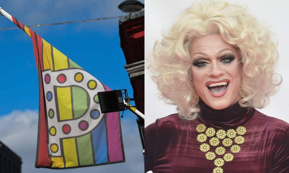 Side by side of Panti Bliss and Panti Bar flag in gay bar Dublin