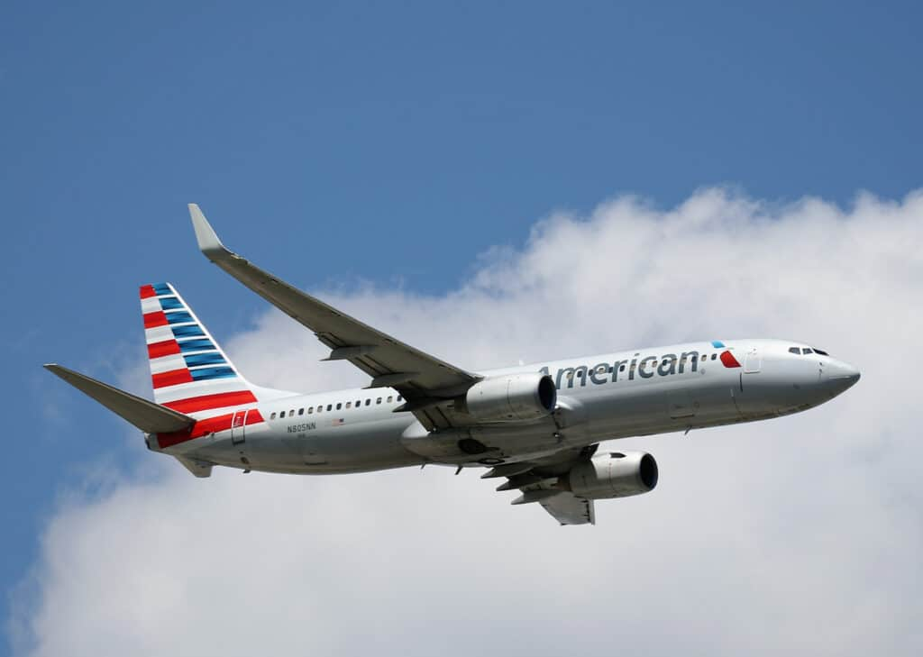An American Airlines plane in flight