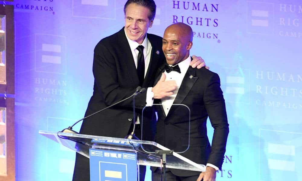 Governor Andrew Cuomo next to Human Rights Campaign's president Alphonso David