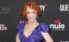 Kathy Griffin in a purple outfit at The Queerties 2020 Awards Reception