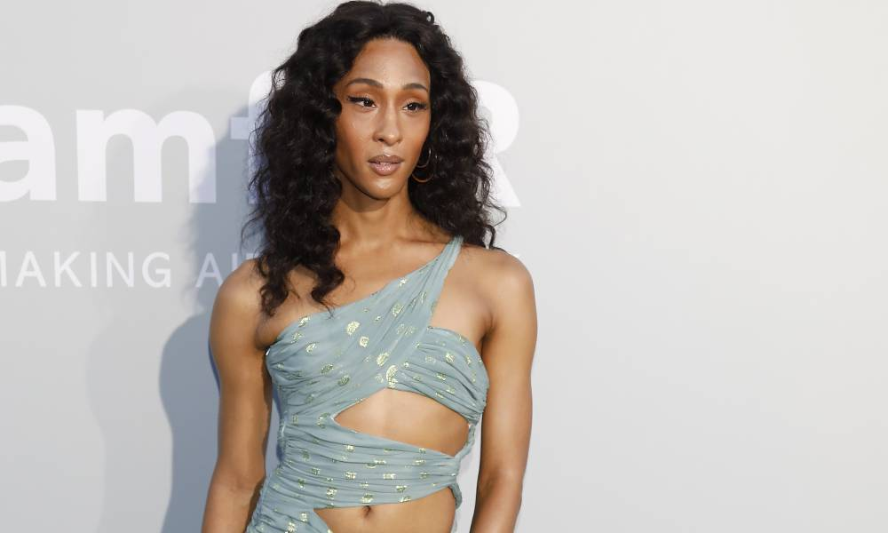 Mj Rodriguez in gorgeous silver blue dress