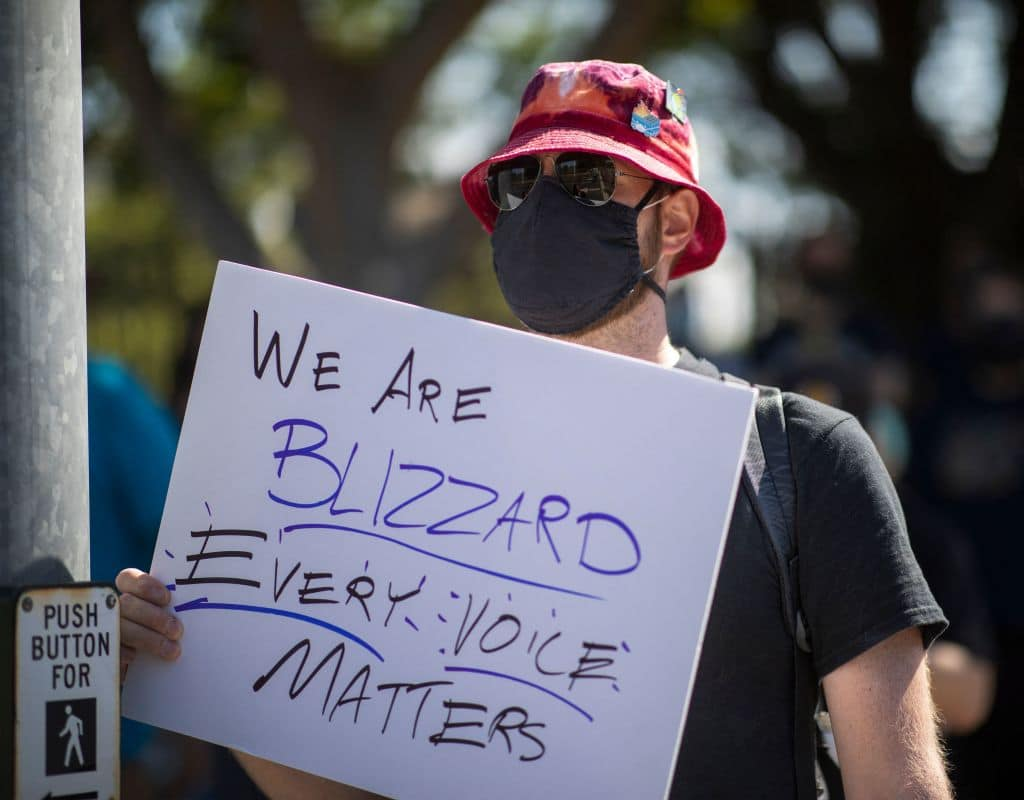 Employees of the video game company, Activision Blizzard, hold a walkout and protest rally to denounce the companys response to a California Department of Fair Employment and Housing lawsuit