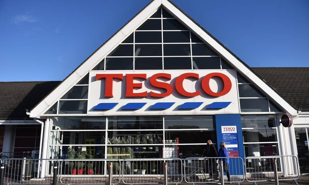 The shop front of supermarket chain Tesco