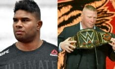 A side by side image of Dutch fighter Alistair Overeem and WWE star Brock Lesnar. Overeem used homophobic language in a recent interview with The MMA Hour and also spoke about Lesnar