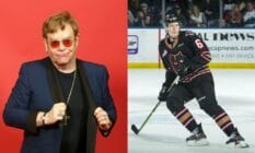 A side by side image of Elton John and hockey star Luke Prokop, the hockey player says that he got a call from Elton, thanking him for coming out as gay